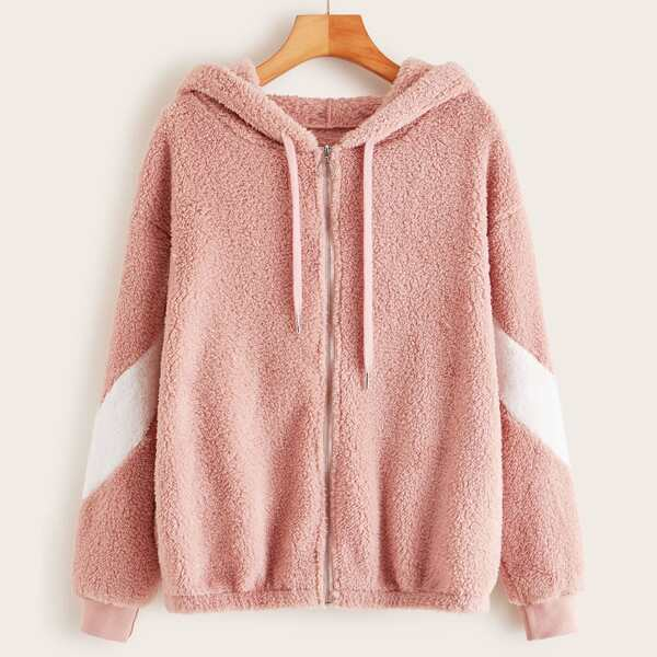 Color-Block Zip Up Drawstring Teddy Hooded Jacket, Pink