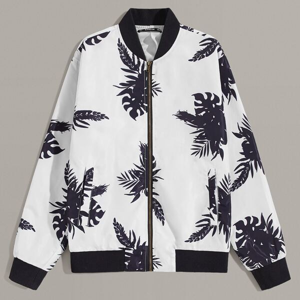 Men Tropical Print Bomber Jacket