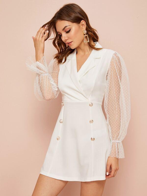 Polka Dot Mesh Sleeve Double Button Blazer Dress, Vlada