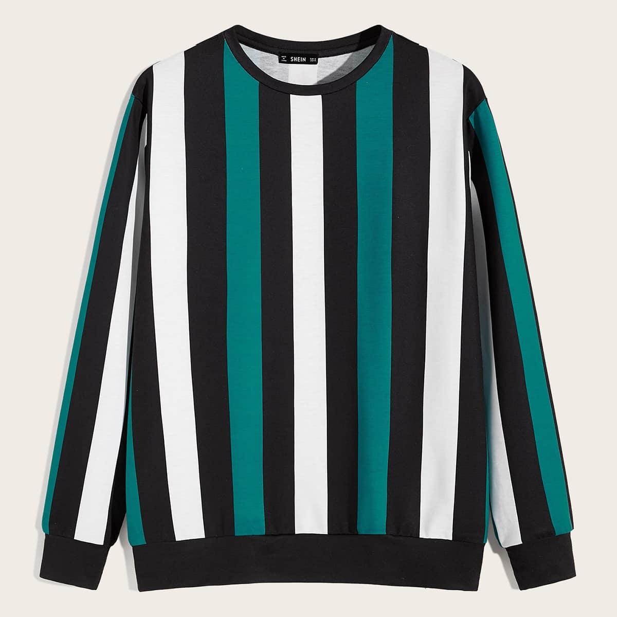 Мужской контрастный полосатый пуловер от SHEIN