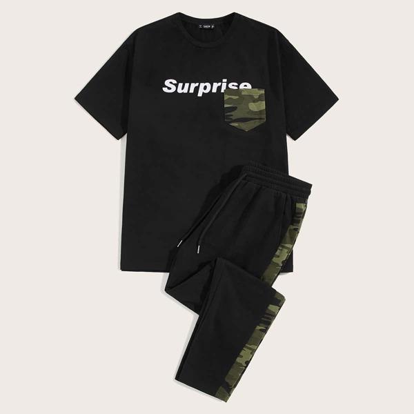 Men Letter Graphic Pocket Tee & Drawstring Sweatpants Set
