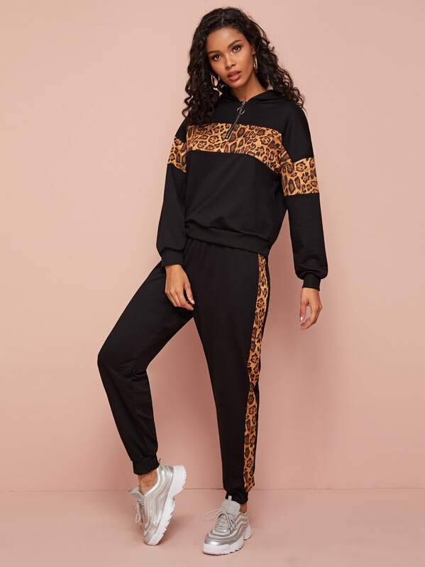 Leopard Panel Half Zipper Hoodie With Sweatpants, Gigi