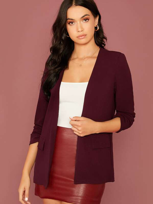 Ruched Detail Sleeve Open Front Blazer, Rona Mahal