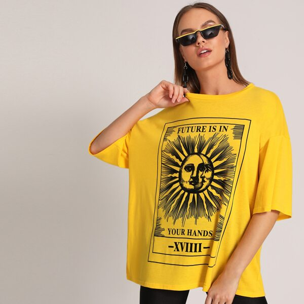 Letter Graphic Oversized Tee, Yellow bright