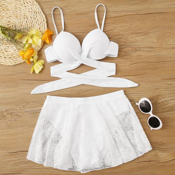Wrap Top With Lace Skorts Bikini Set