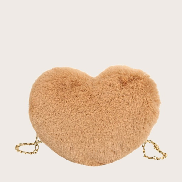 Girls Heart Shaped Faux Fur Chain Crossbody Bag