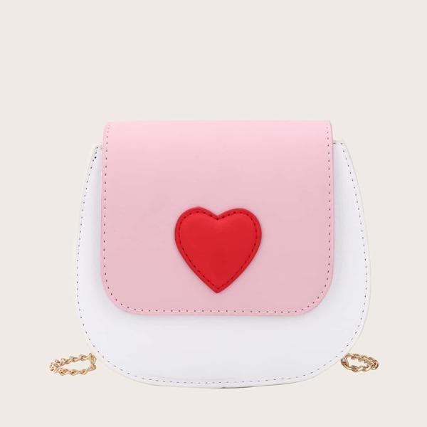 Girls Colorblock Heart Pattern Chain Crossbody Bag