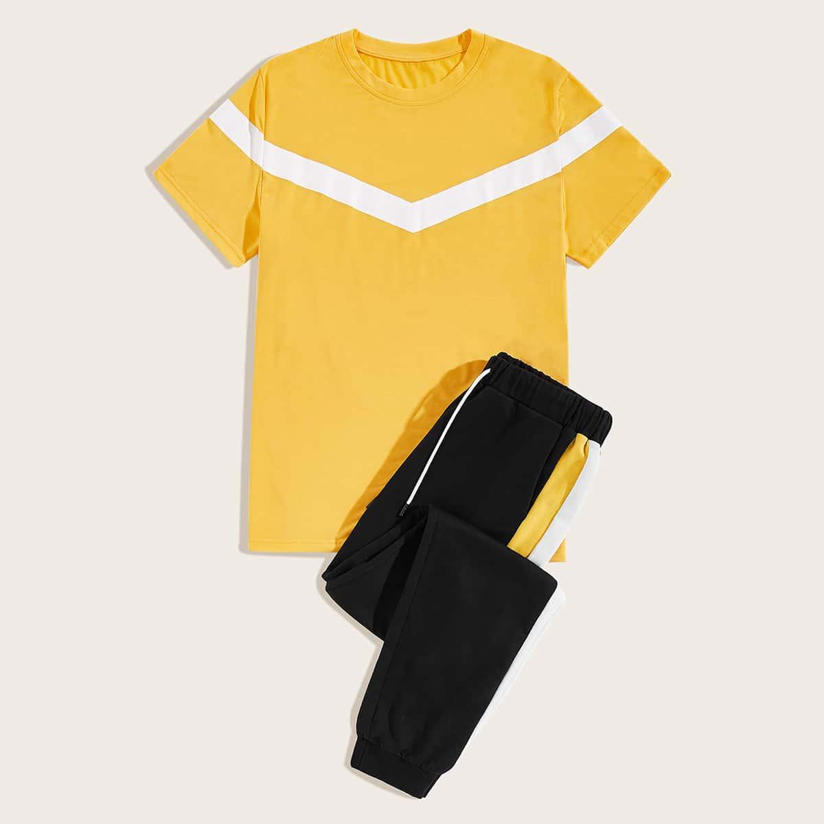 Мужская контрастная футболка и брюки на кулиске от SHEIN