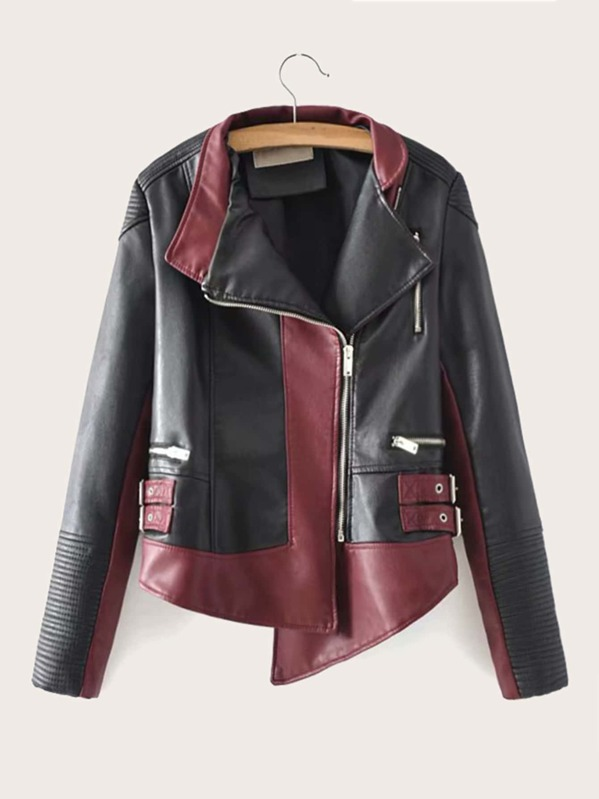 Color-block Zip Up PU Biker Jacket
