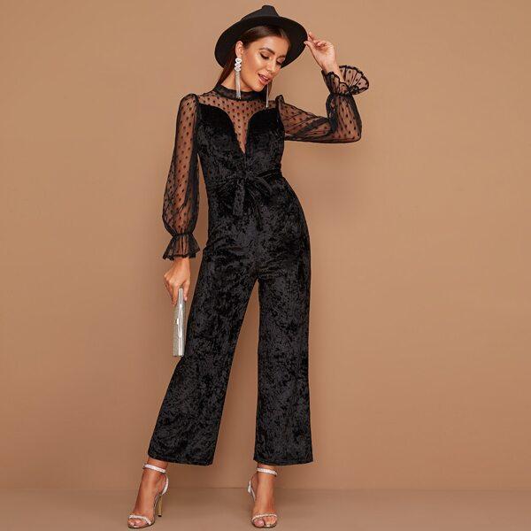 Contrast Dobby Mesh Self Tie Velvet Jumpsuit, Black