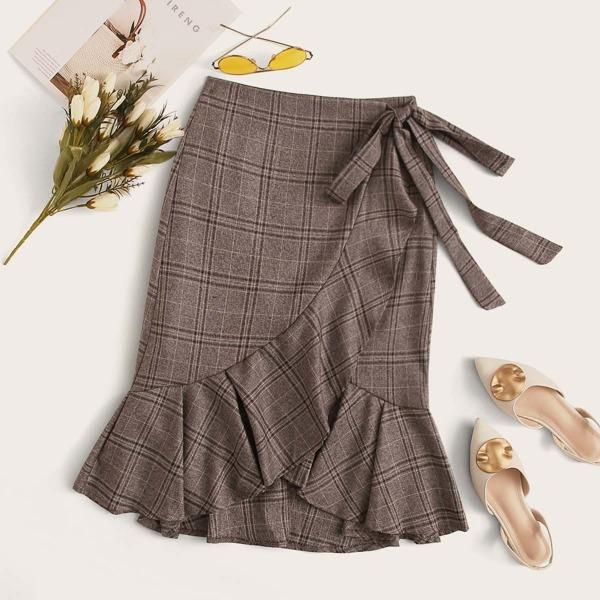 Plaid Self Tie Wrap Skirt, Brown