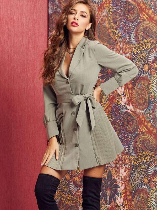 SBetro Button Front Pleated Hem Belted Blazer Dress, Hanna