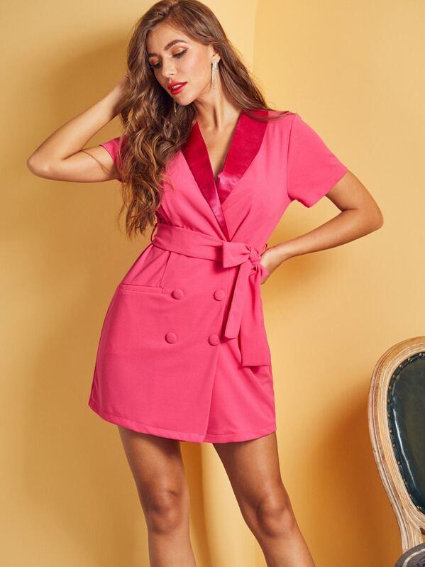 SBetro Neon Pink Double Button Wrap Belted Blazer Dress, Hanna