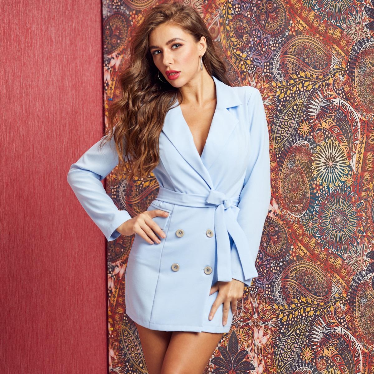 двубортное платье-пиджак с поясом от SHEIN