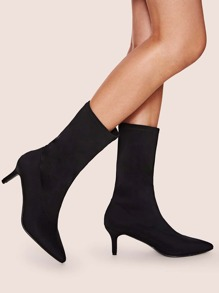 Point Toe Stiletto Heeled Mid Calf Boots
