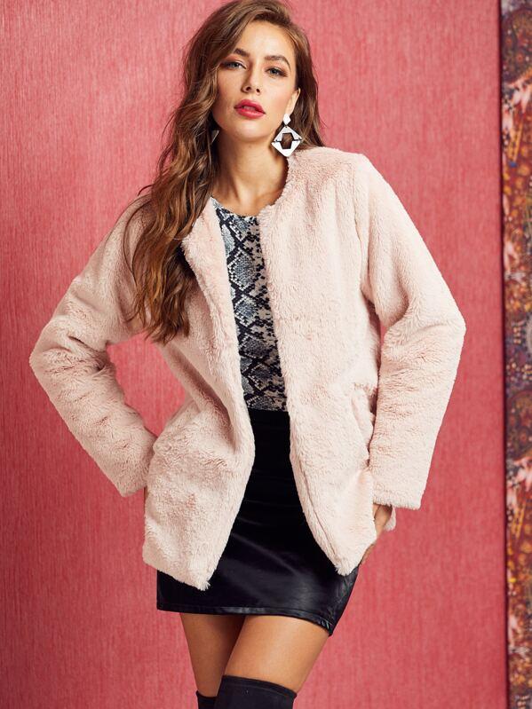 SBetro Open Front Faux Fur Coat, Hanna