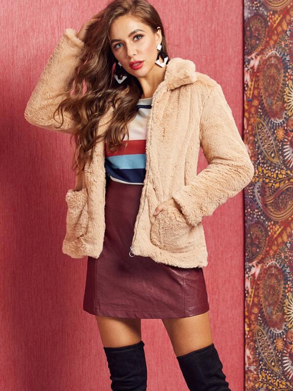 SBetro O-ring Zip Up Faux Fur Coat, Hanna