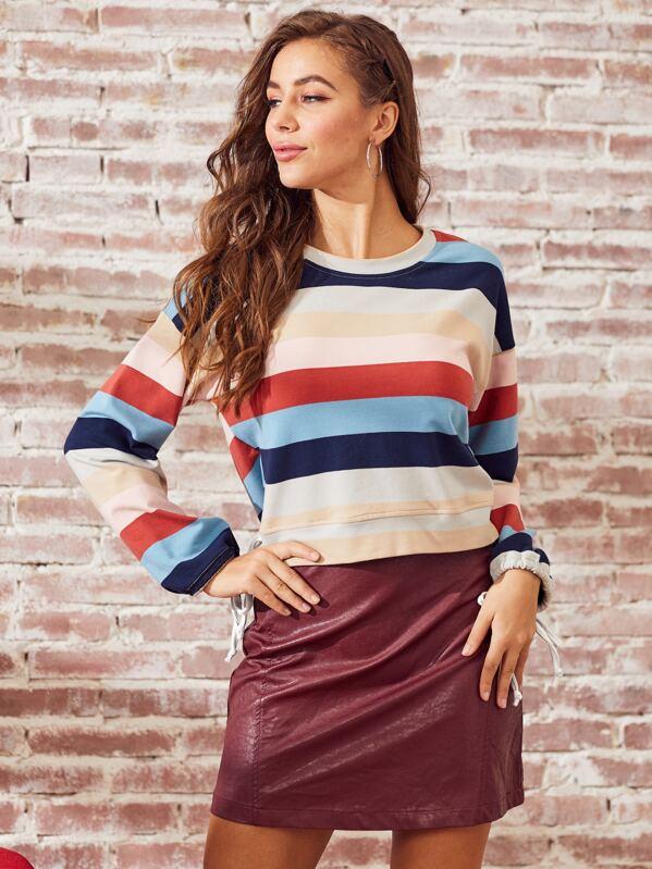 SBetro Drawstring Cuff Colorblock Striped Sweatshirt, Hanna