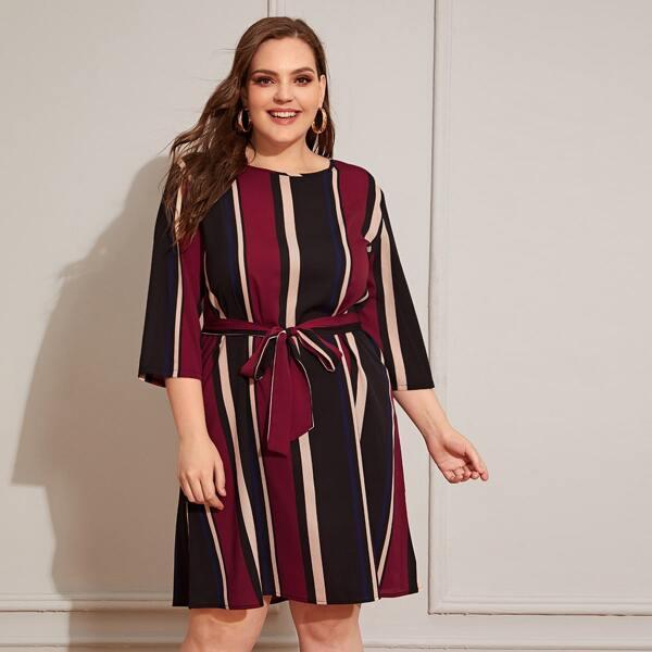 Plus Block Striped Self Tie Dress, Multicolor