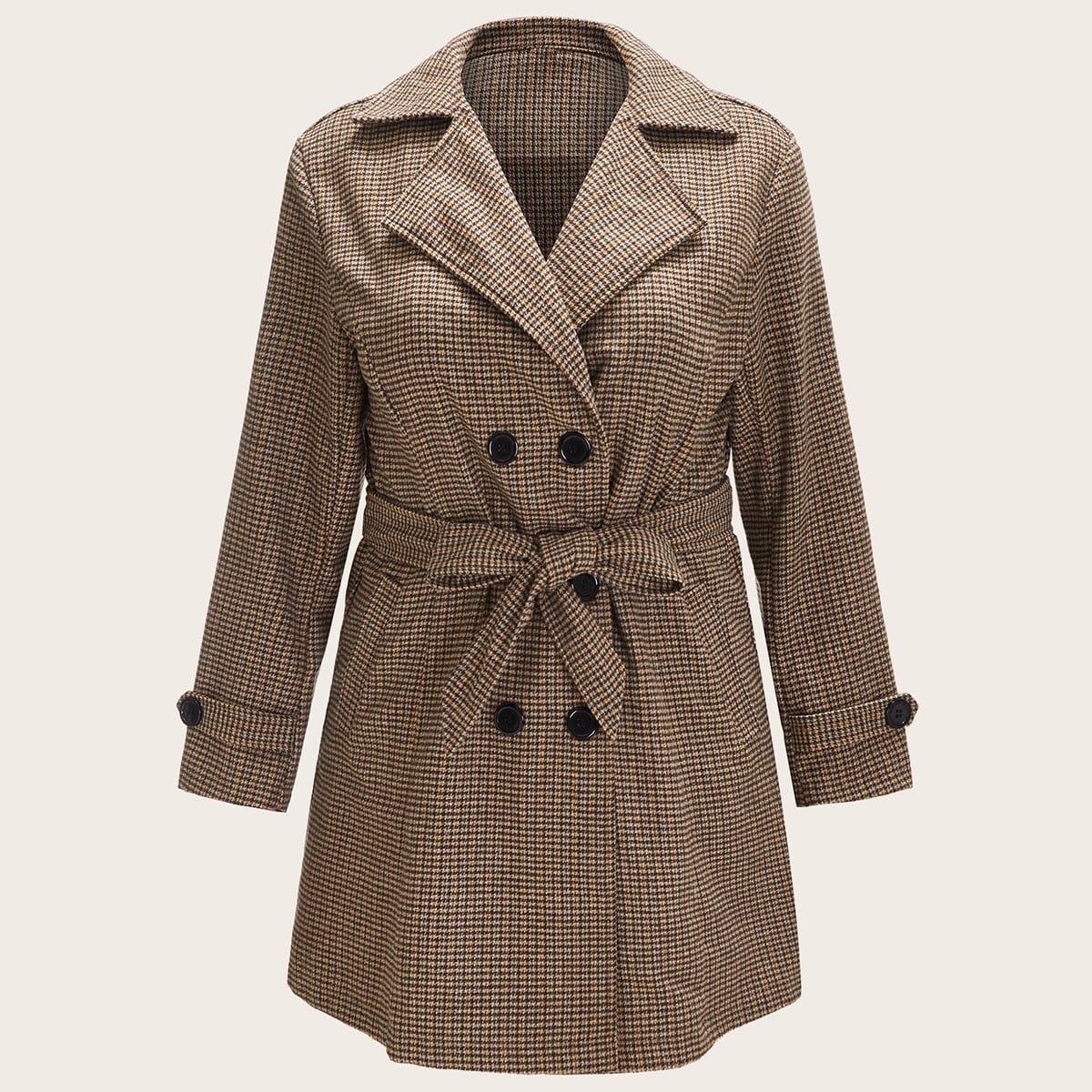SHEIN / Mantel in Übergröße mit Karo Muster und Selbstband