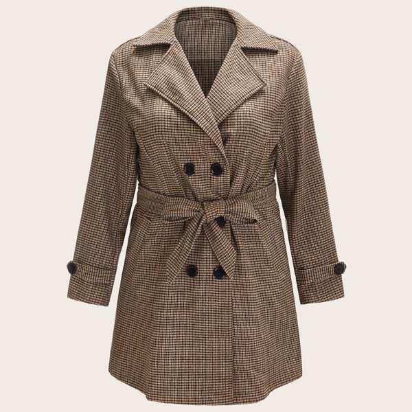 Plus Plaid Self Tie Pea Coat, Brown
