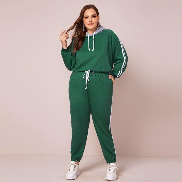 Plus Side Striped Drawstring Hoodie & Sweatpants Set, Green