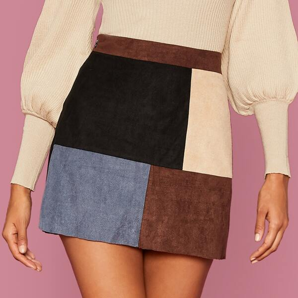 Colorblock Straight Suede Skirt