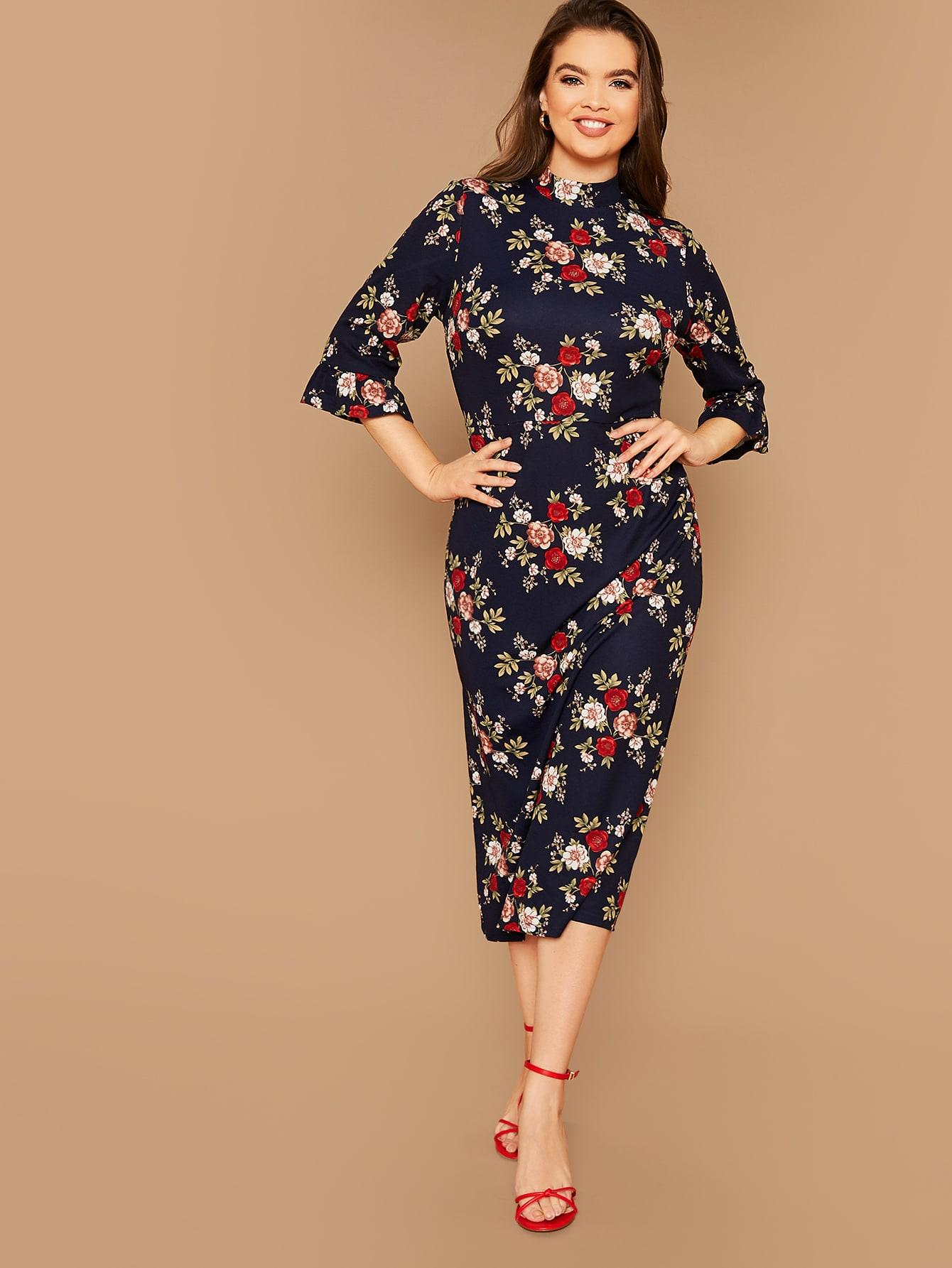 Платье-карандаш размера плюс с цветочным принтом