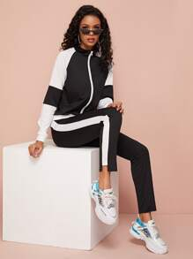 Contrast Panel Zipper Fly Tracksuit Set