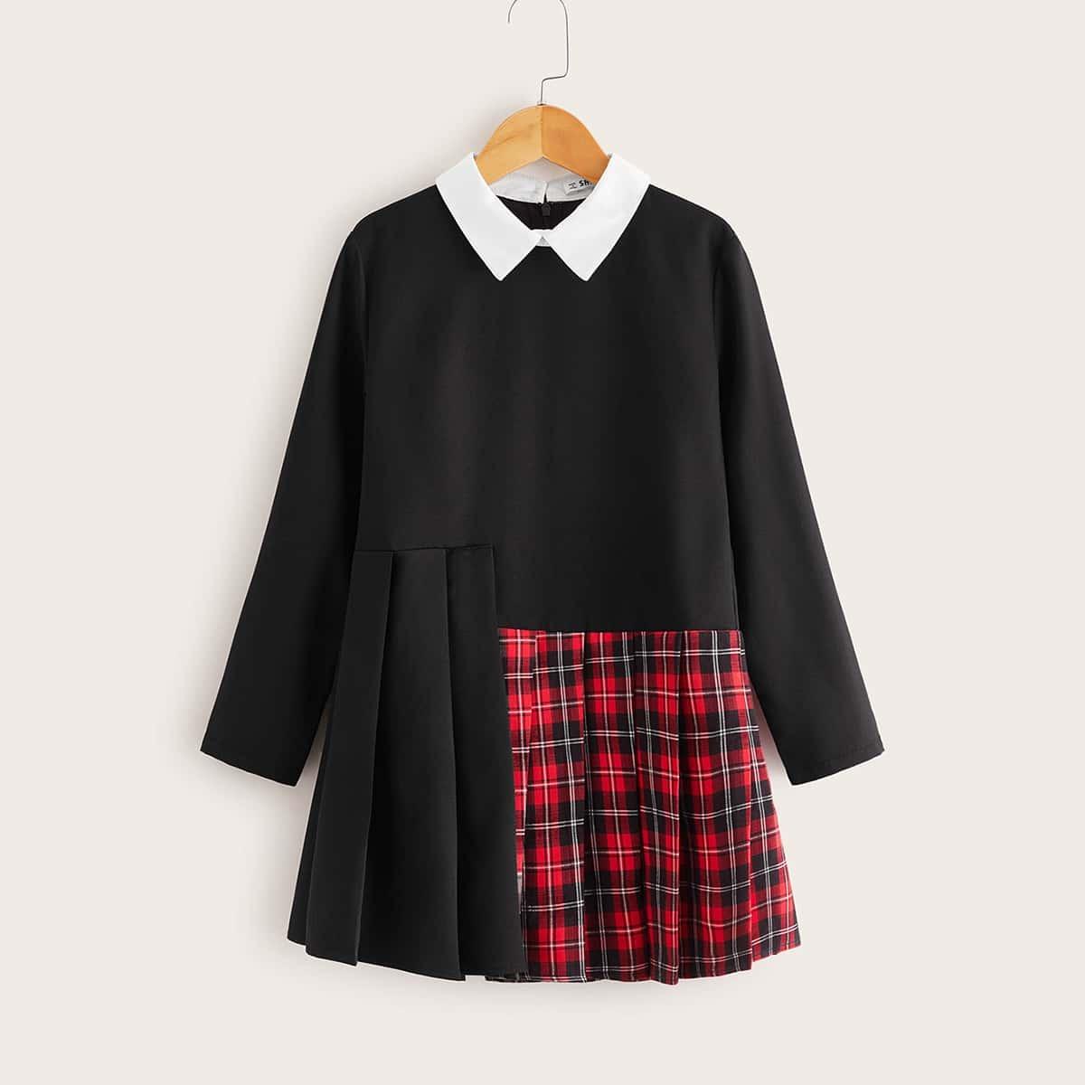 Клетчатое платье с контрастным воротником для девочек от SHEIN