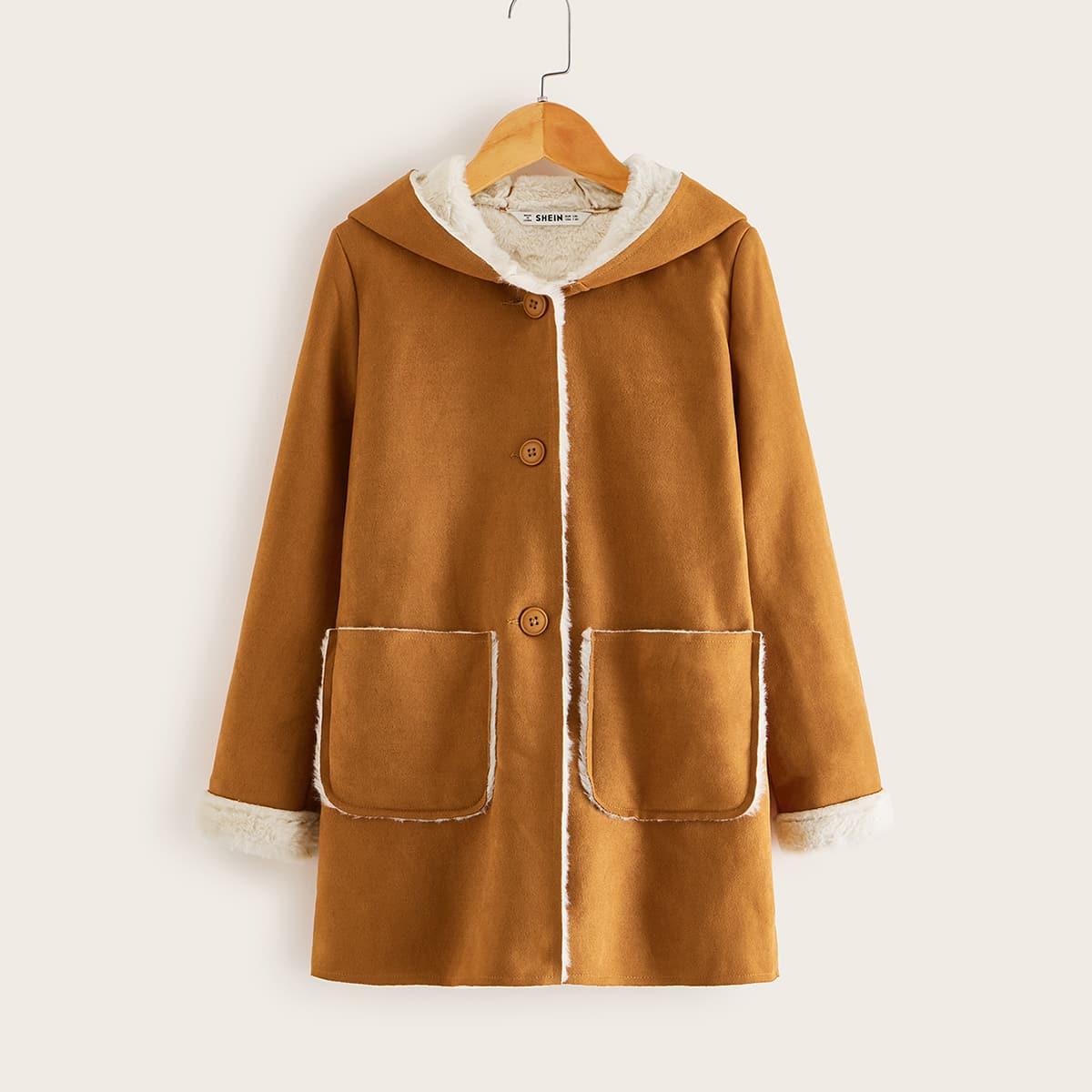 Однобортное пальто с капюшоном из искусственной овчины для девочек от SHEIN