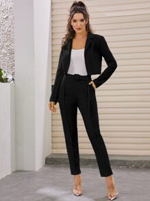 Lapel Crop Blazer With Belted Tailored Pants