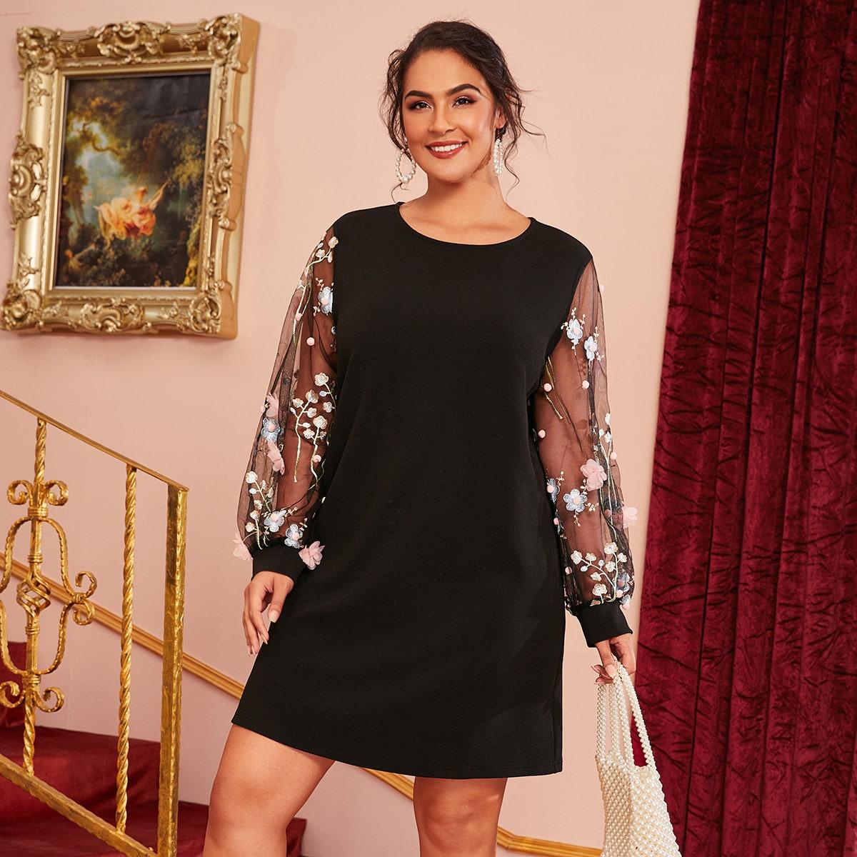 Контрастное цветочное платье с сетчатым рукавом размера плюс