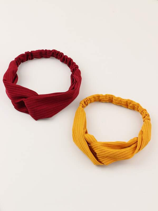 2pcs Girls Solid Headband