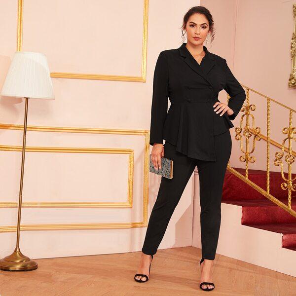 Plus Double Breasted Asymmetrical Peplum Blazer and Pants Set, Black