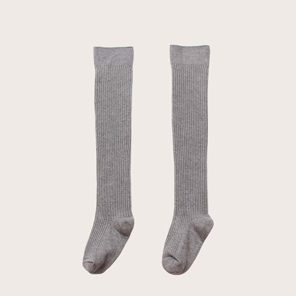 1pair Toddler Girls Solid Knee Length Socks, Grey