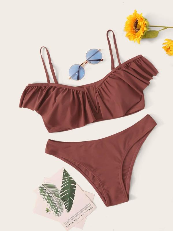 Ruffle Trim Top With Cheeky Bikini Set