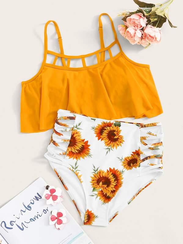 Flounce Ladder Cut-out Top With Sunflower Print Bikini Set