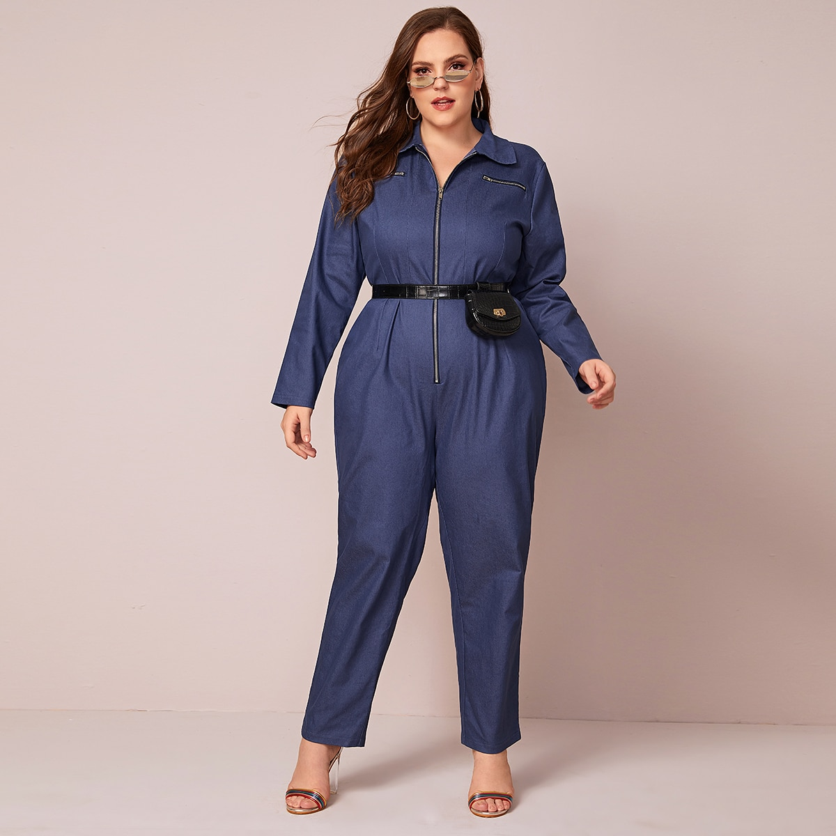 Marine Casual Vlak Grote maten: salopettes in jeans Rits