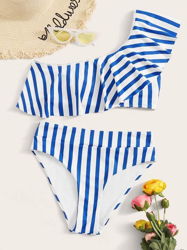 Striped Flounce One Shoulder Bikini Set