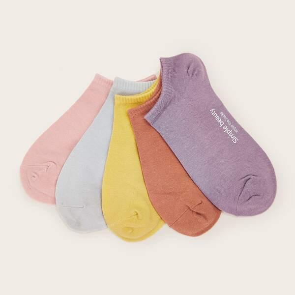 5pairs Slogan Graphic Socks, Multicolor