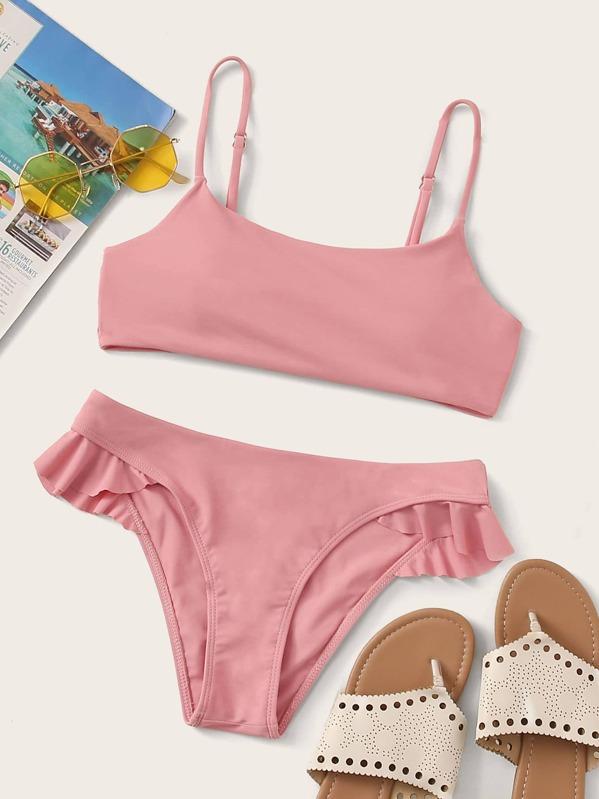 Solid Ruffle Trim Bikini Set