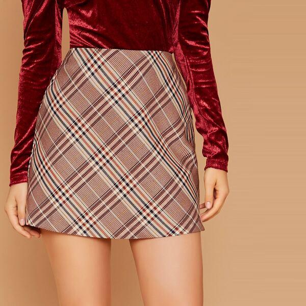 Back Zip Tartan Plaid Mini Skirt