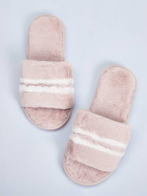Striped Faux Fur Slippers