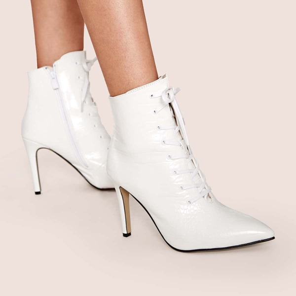 Croc Embossed Point Toe Side Zip Stiletto Boots, White