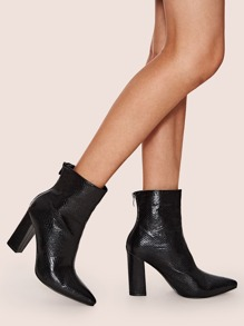 Snakeskin Embossed Point Toe Chunky Boots