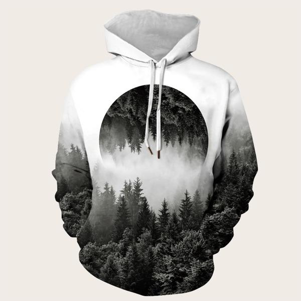 Men Landscape Print Drawstring Hooded Sweatshirt, Multicolor