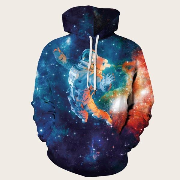 Men Galaxy Print Drawstring Hooded Sweatshirt, Multicolor