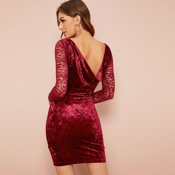 Sheer Lace Sleeve Draped Back Velvet Bodycon Dress, Burgundy
