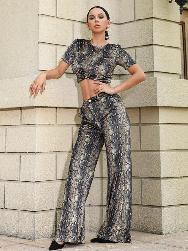 Missord Snakeskin Print Crop Top & Wide Leg Pants Set